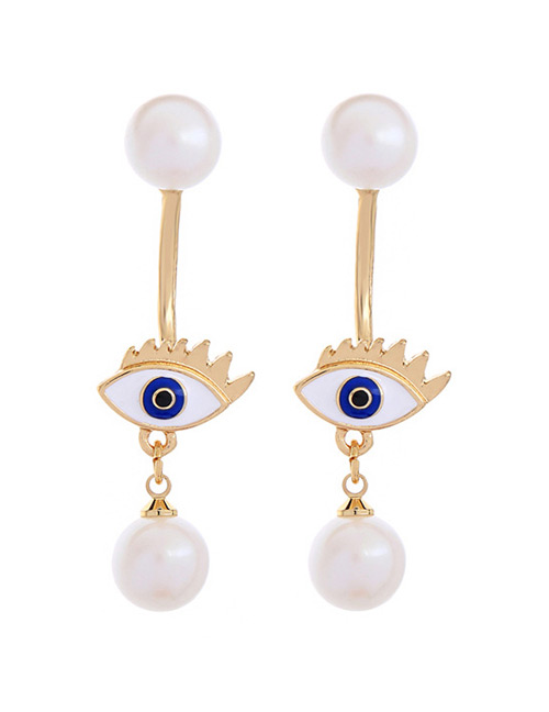 Fashion White Eyes&pearls Pendant Decorated Earrings