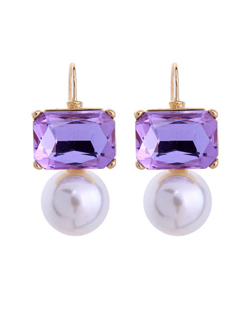 Fashion Purple Square Shape Diamond Decorated Earrings