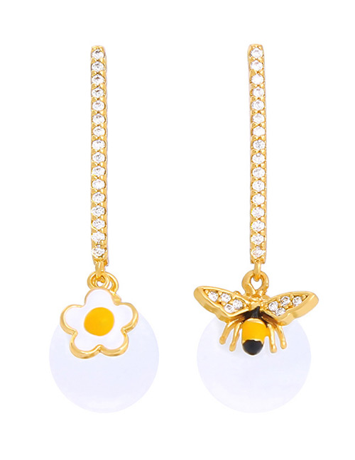 Fashion Gold Color Bee&flower Decorated Asymmetric Earrings