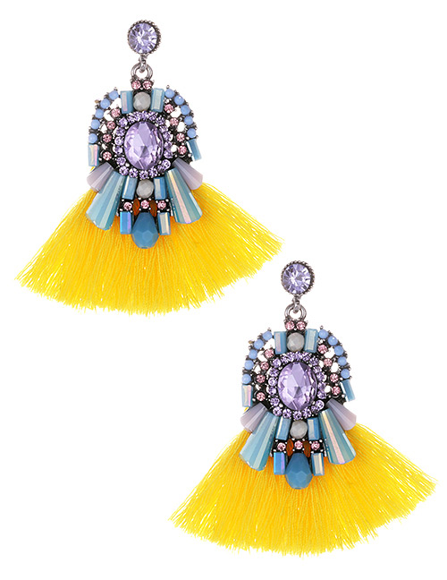 Fashion Yellow+purple Diamond Decorated Tassel Earrings