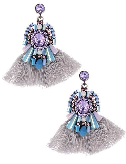 Fashion Gray+purple Diamond Decorated Tassel Earrings