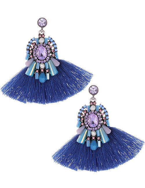 Fashion Blue+purple Diamond Decorated Tassel Earrings