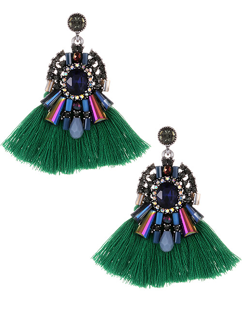 Fashion Green+dark Blue Diamond Decorated Tassel Earrings