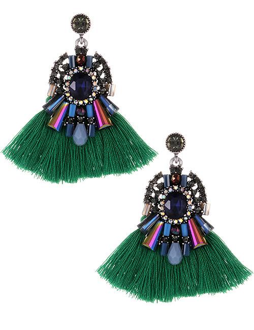 Fashion Green+dark Blue Diamond Decorated Tassel Earrings