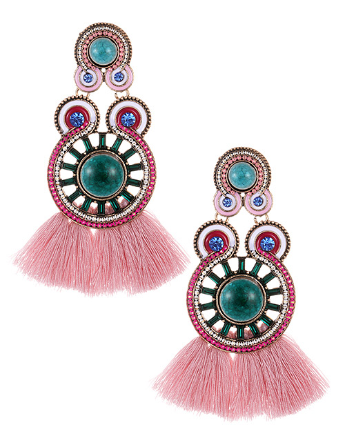 Fashion Pink+plum Red Circular Ring Decorated Tassel Earrings