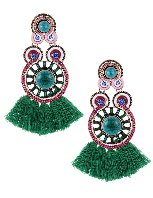 Fashion Green+plum Red Circular Ring Decorated Tassel Earrings
