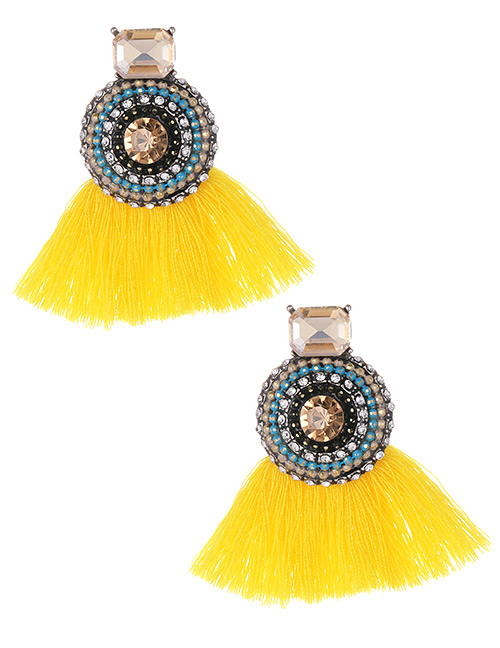 Fashion Yellow+blue Round Shape Decorated Tassel Earrings