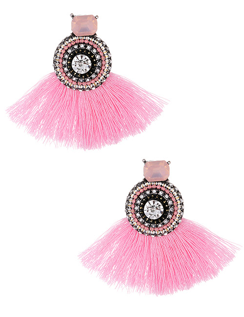 Fashion Pink Round Shape Decorated Tassel Earrings