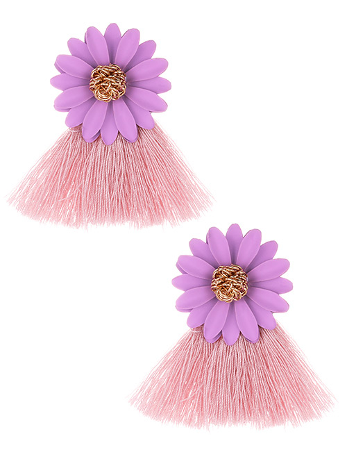 Fashion Pink+purple Flowers Decorated Tassel Earrings