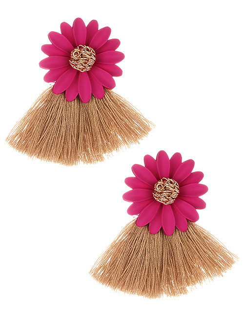 Fashion Light Brown Flowers Decorated Tassel Earrings