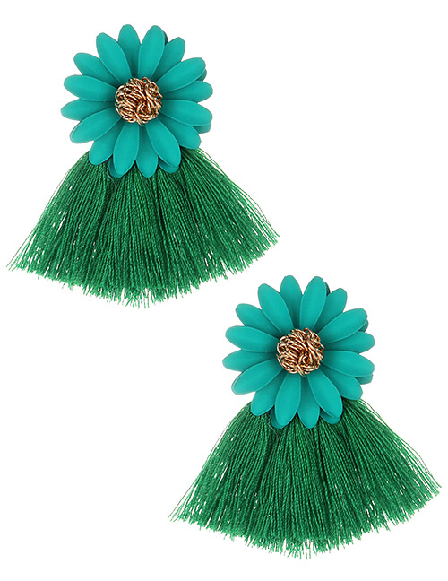 Fashion Green Flowers Decorated Tassel Earrings