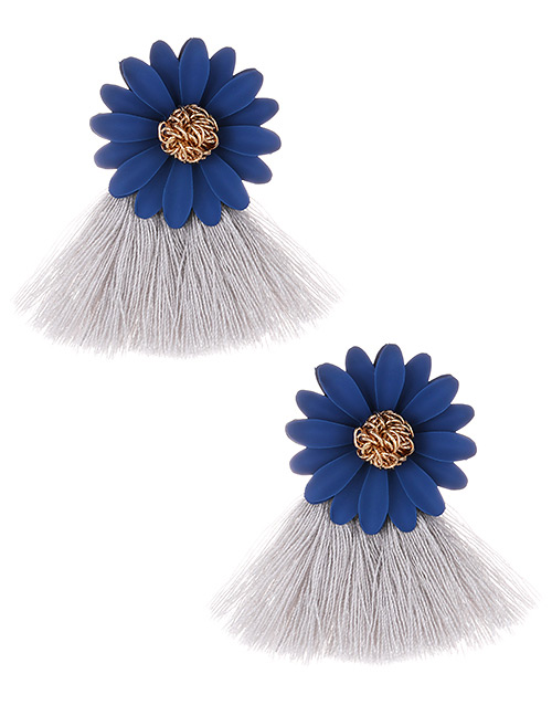 Fashion Gray Flowers Decorated Tassel Earrings