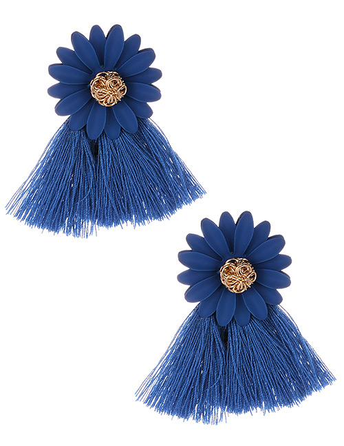 Fashion Sapphire Blue Flowers Decorated Tassel Earrings
