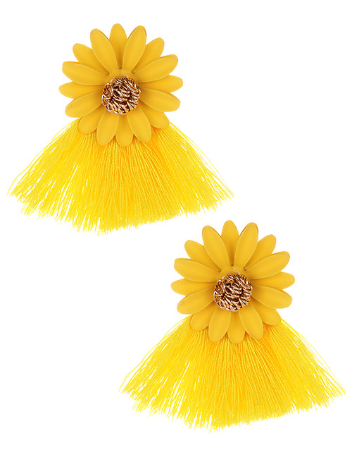 Fashion Yellow Flowers Decorated Tassel Earrings
