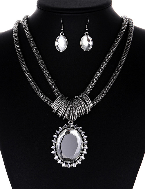 Fashion Silver Color Round Shape Gemstone Decorated Jewelry Sets