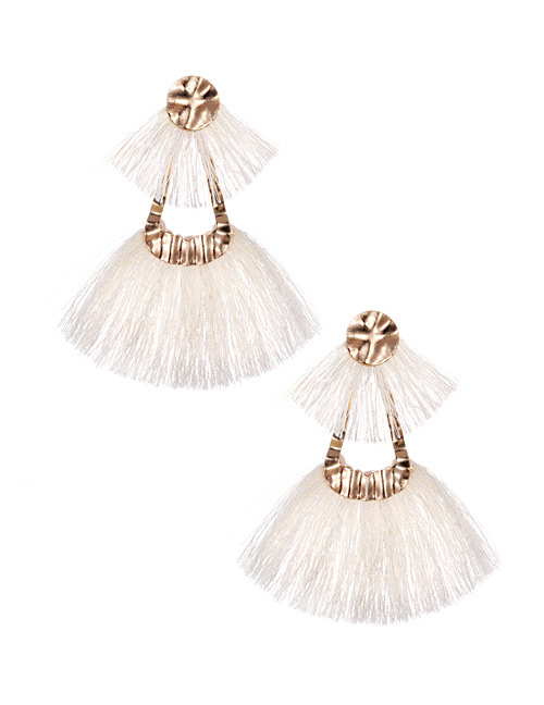 Fashion White Double Tassel Design Simple Earrings
