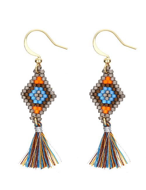 Vintage Multi-color Beads Decorated Long Tassel Earrings