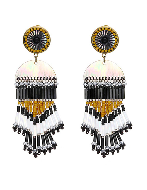 Vintage Black+white Tassel Decorated Color Matching Earrings