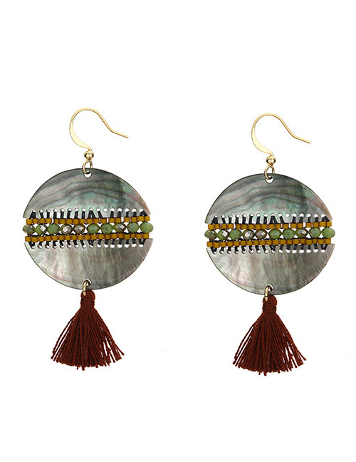 Vintage Multi-color Tassel Decorated Round Shape Earrings