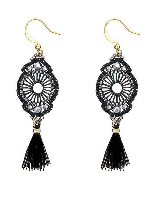 Vintage Black Hollow Out Design Long Tassel Earrings
