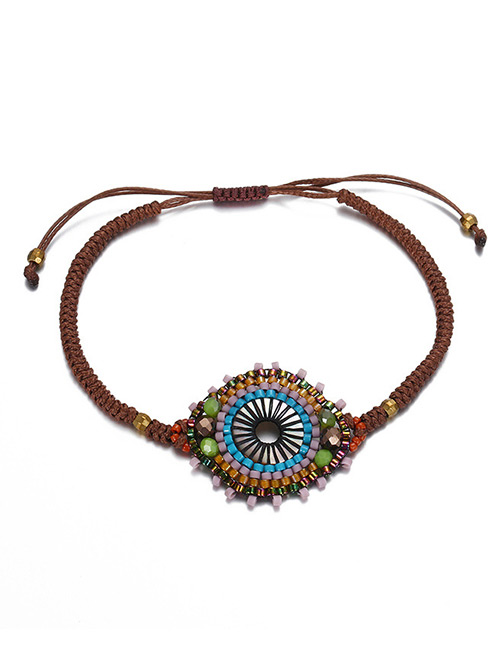 Vintage Multi-color Round Shape Decorated Hand-woven Bracelet