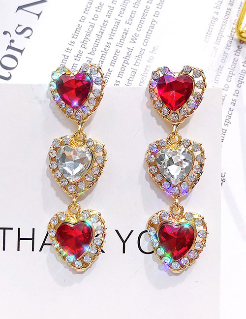 Vintage Red Heart Shape Design Long Earrings