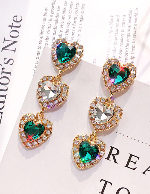 Vintage Green Heart Shape Design Long Earrings