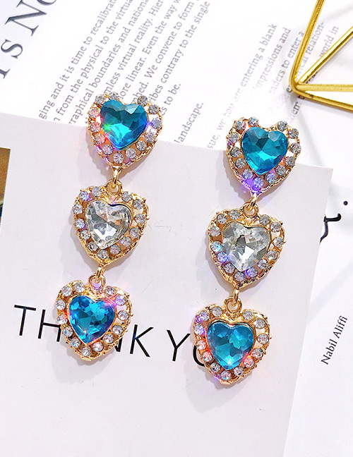 Vintage Blue Heart Shape Design Long Earrings