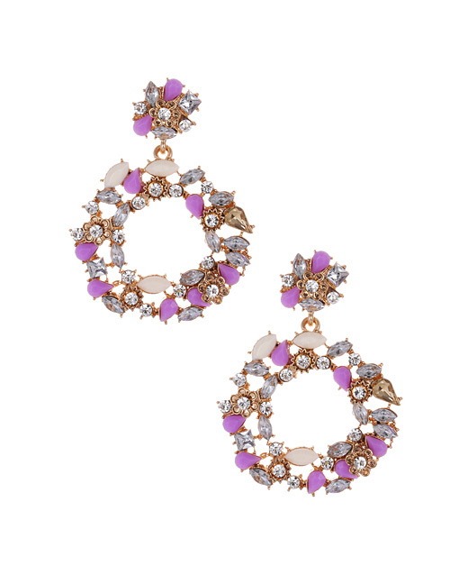 Fashion Purple Full Diamond Design Circular Ring Earrings