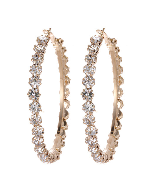 Fashion Gold Color Circular Ring Design Pure Color Earrings(small)