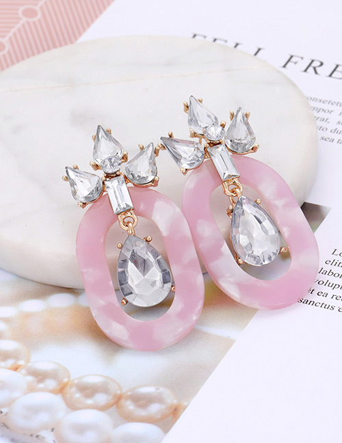 Fashion Pink Diamond Decorated Oval Shape Earrings