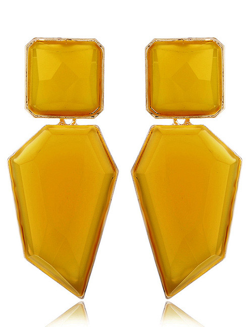 Elegant Yellow Geometric Shape Design Pure Color Earrings