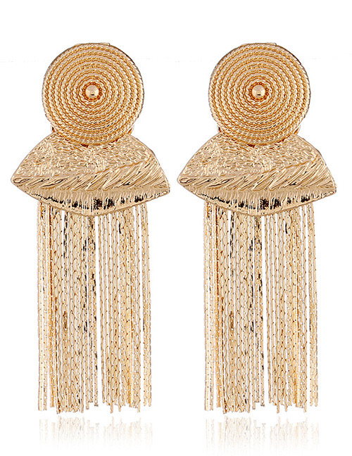 Elegant Gold Color Tassel Decorated Pure Color Earrings