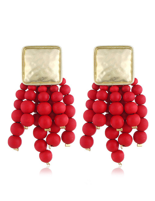 Elegant Red Beads Decorated Long Tassel Earrings