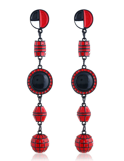 Elegant Red Geometric Shape Decorated Long Earrings