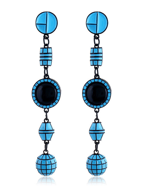 Elegant Blue Geometric Shape Decorated Long Earrings