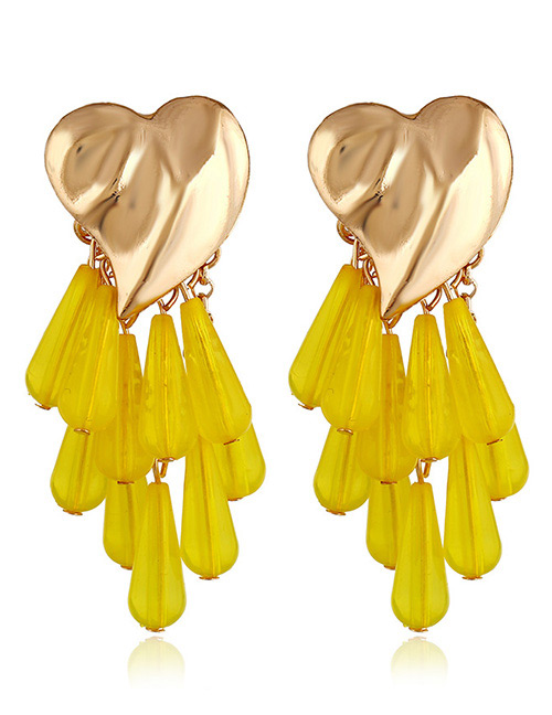 Vintage Yellow Beads Decorated Heart Shape Earrings