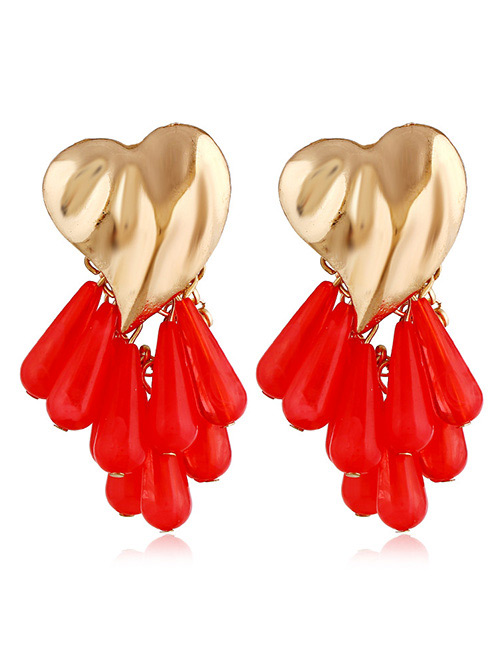 Vintage Red Beads Decorated Heart Shape Earrings