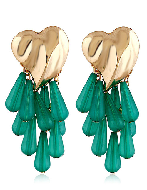 Vintage Green Beads Decorated Heart Shape Earrings
