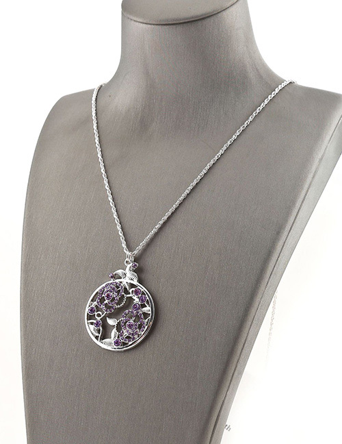 Fashion Silver Color Hollow Out Flower Pendant Decorated Necklace