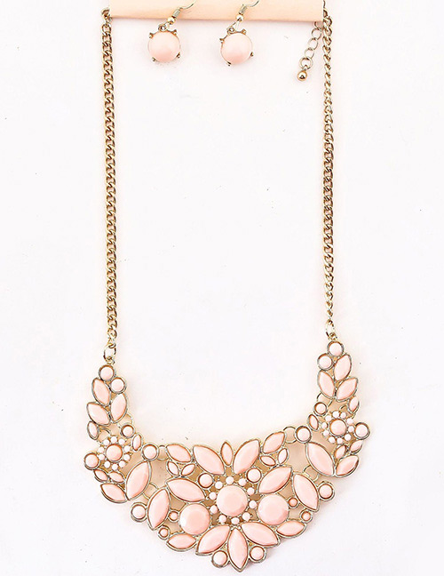 Fashion Pink Flowers Decorated Simple Jewelry Sets