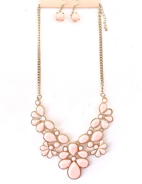 Fashion Pink Pure Color Design Flower Shape Jewelry Sets
