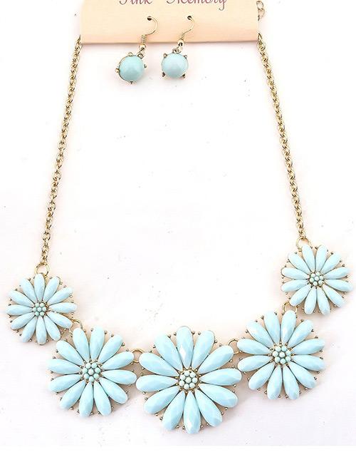 Fashion Blue Diamond Decorated Flower Shape Jewelry Sets