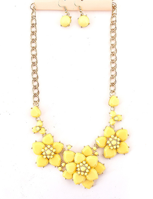 Fashion Yellow Flowers Shape Design Simple Jewelry Sets