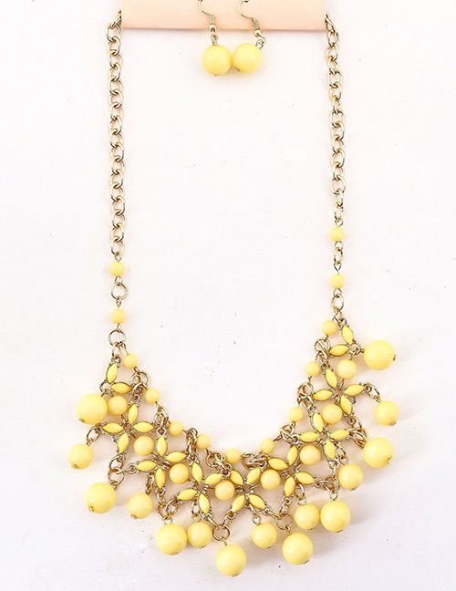 Fashion Yellow Hollow Out Design Pure Color Jewelry Sets