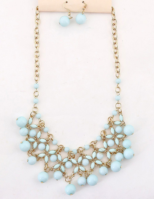 Fashion Blue Hollow Out Design Pure Color Jewelry Sets