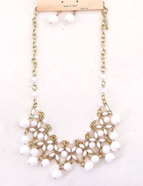 Fashion White Hollow Out Design Pure Color Jewelry Sets