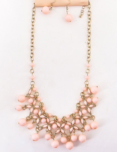 Fashion Pink Hollow Out Design Pure Color Jewelry Sets