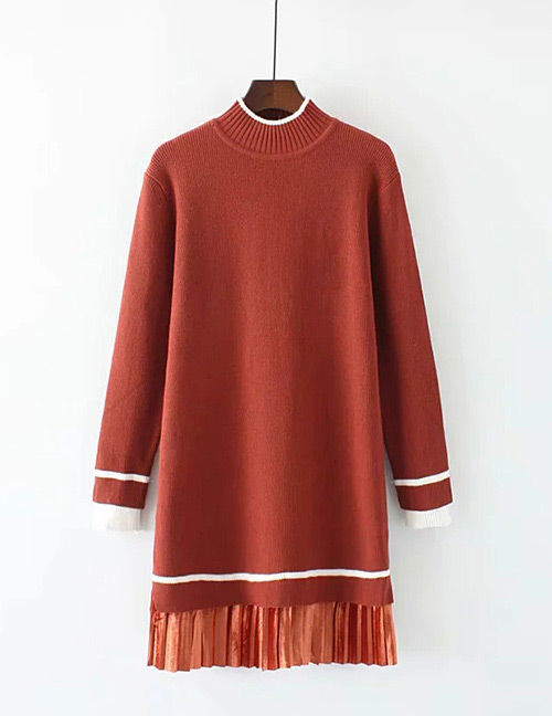Trendy Red Long Sleeves Design Loose Sweater