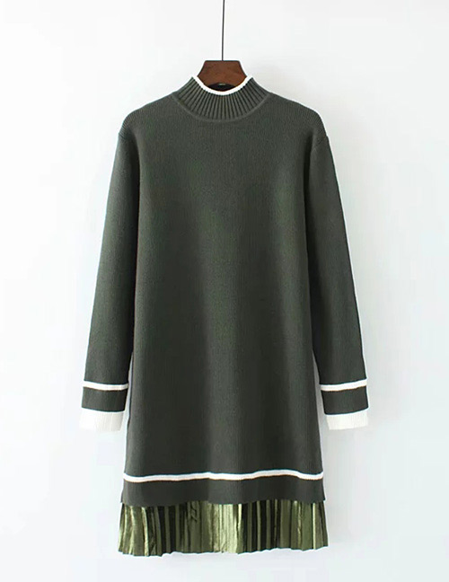 Trendy Olive Long Sleeves Design Loose Sweater
